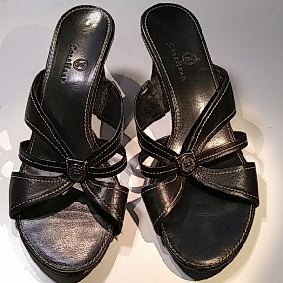 Cole Haan Shoes - Cole Haan black heeled sandals white stitching